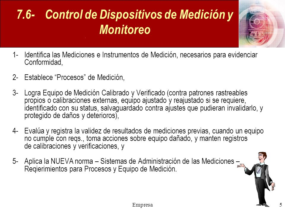 7.6- Control de Dispositivos de Medición y Monitoreo