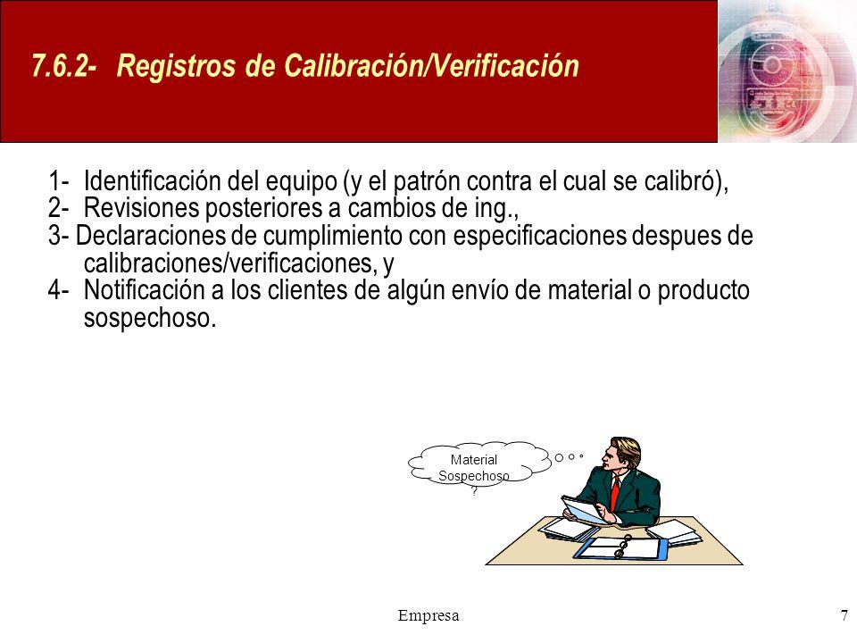 7.6.2- Registros de Calibración/Verificación