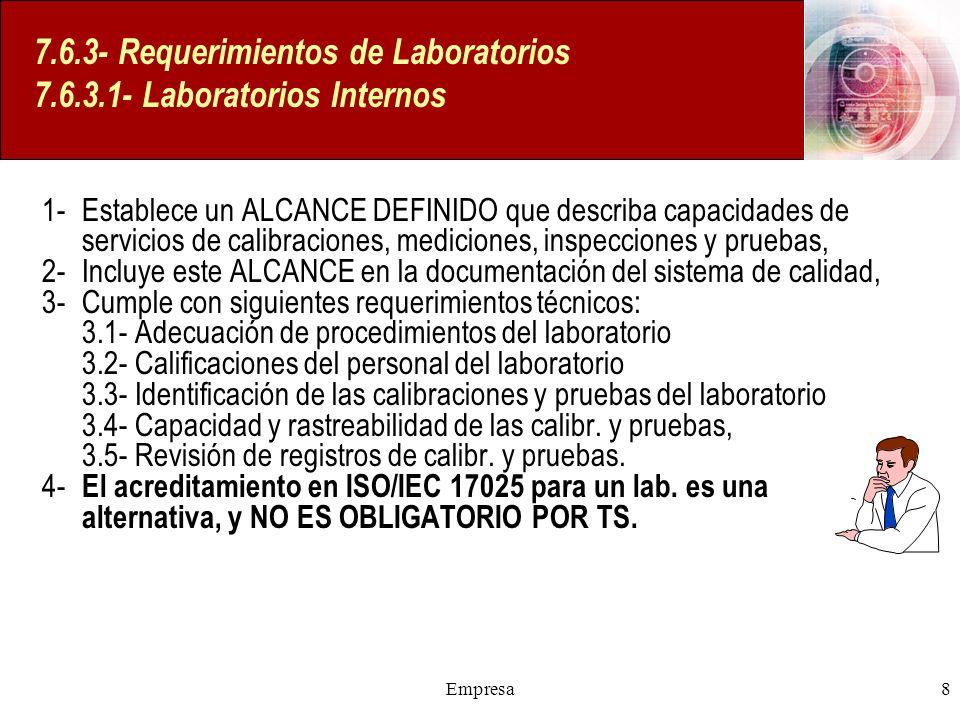 7.6.3- Requerimientos de Laboratorios 7.6.3.1- Laboratorios Internos