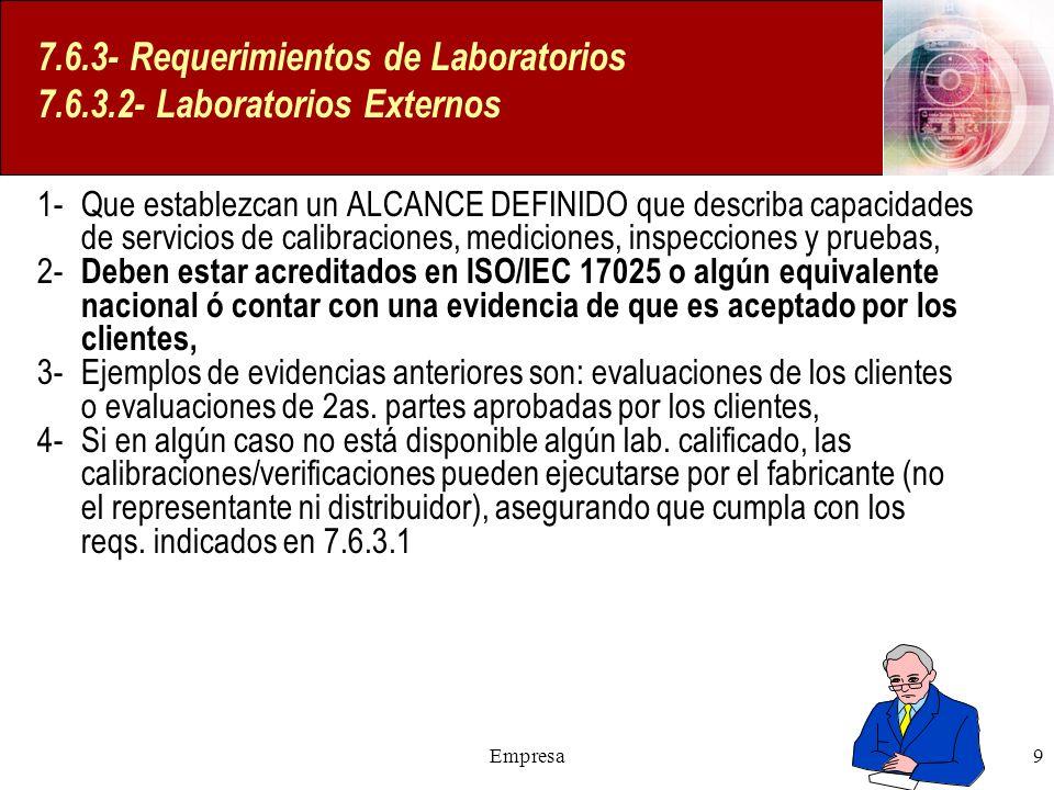 7.6.3- Requerimientos de Laboratorios 7.6.3.2- Laboratorios Externos
