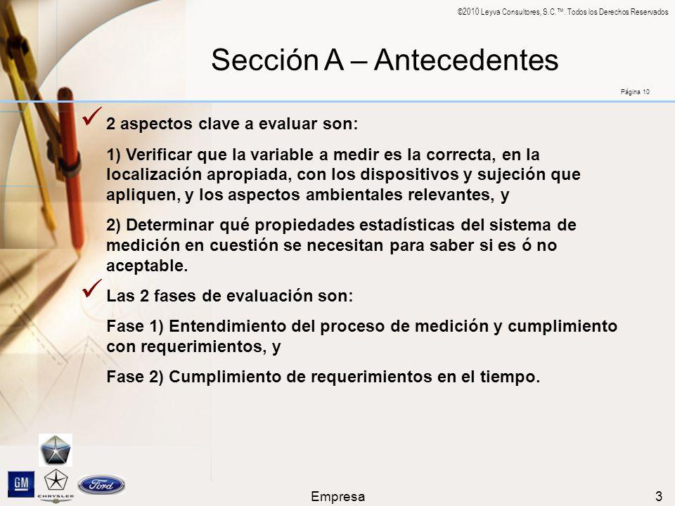 Sección A – Antecedentes