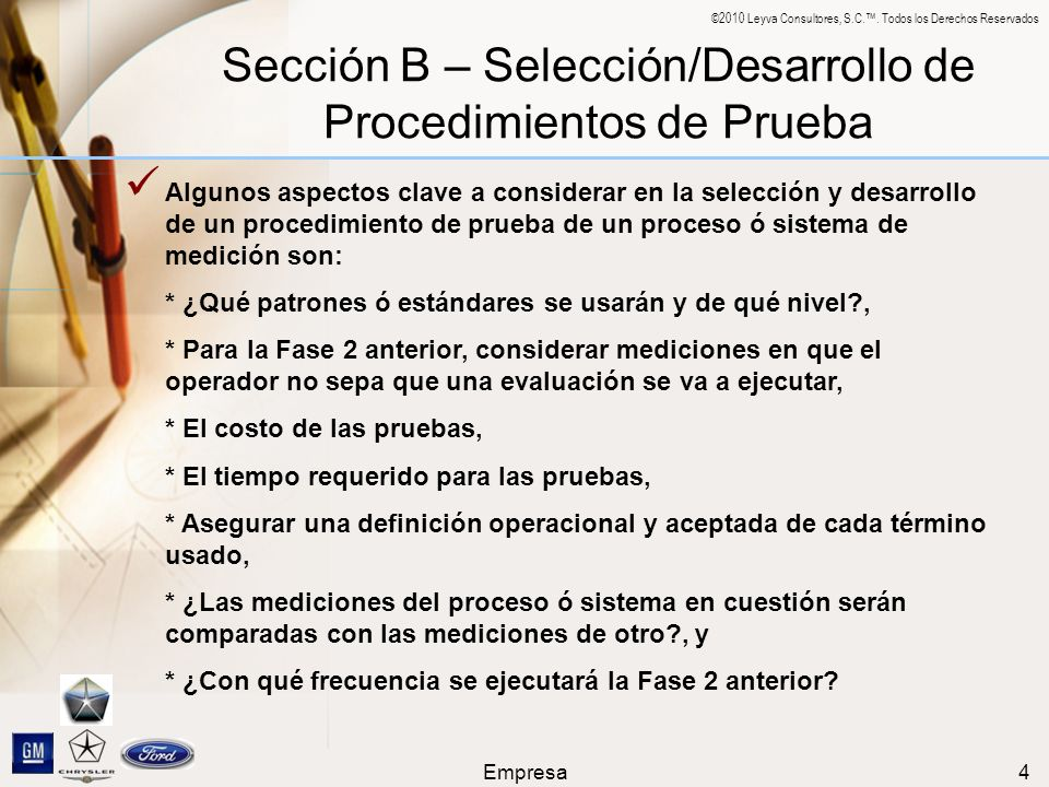 Sección B – Selección/Desarrollo de Procedimientos de Prueba