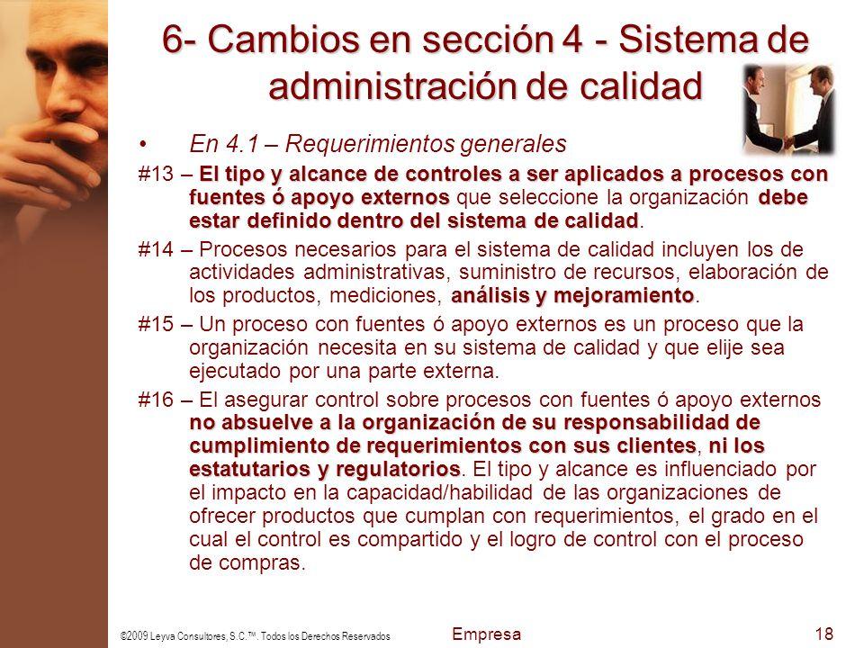 6- Cambios en sección 4 - Sistema de administración de calidad