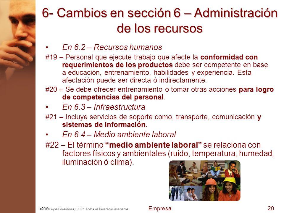 6- Cambios en sección 6 – Administración de los recursos