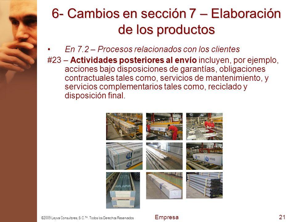 6- Cambios en sección 7 – Elaboración de los productos