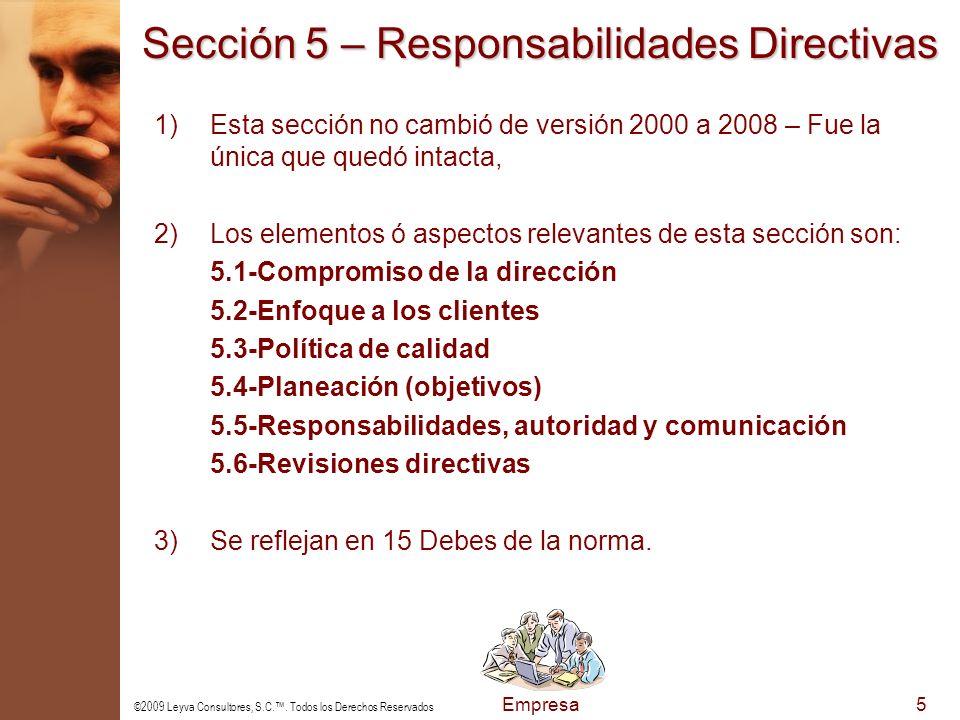 Sección 5 – Responsabilidades Directivas