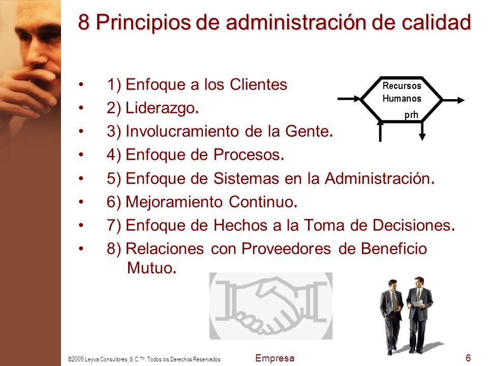 8 Principios de administración de calidad