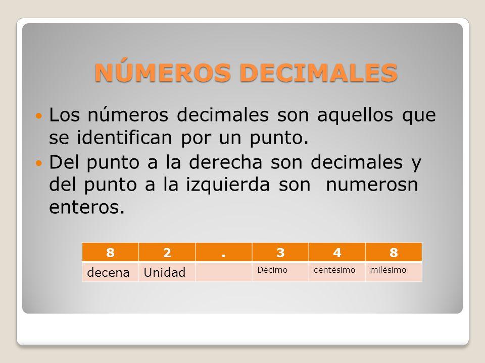 NÚMEROS DECIMALES Los números decimales son aquellos que se identifican por un punto.