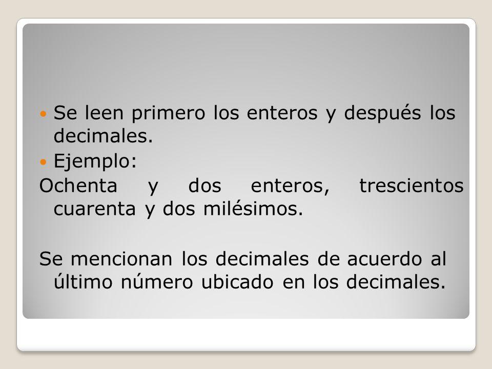 Se leen primero los enteros y después los decimales.
