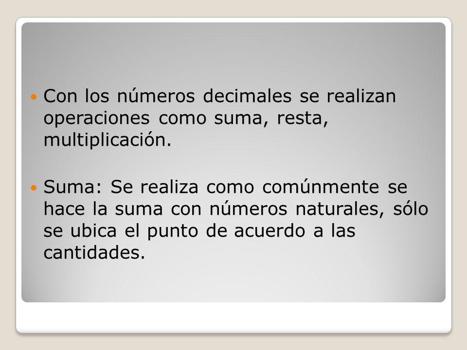 Con los números decimales se realizan operaciones como suma, resta, multiplicación.