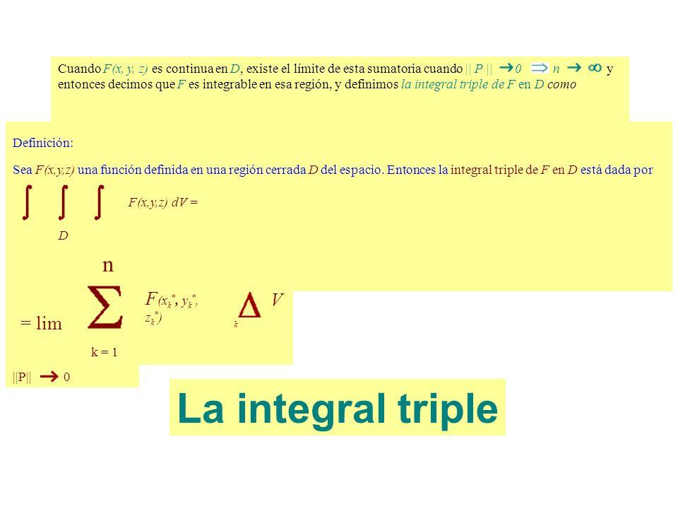 La integral triple n F(xk*, yk*, zk*) = lim