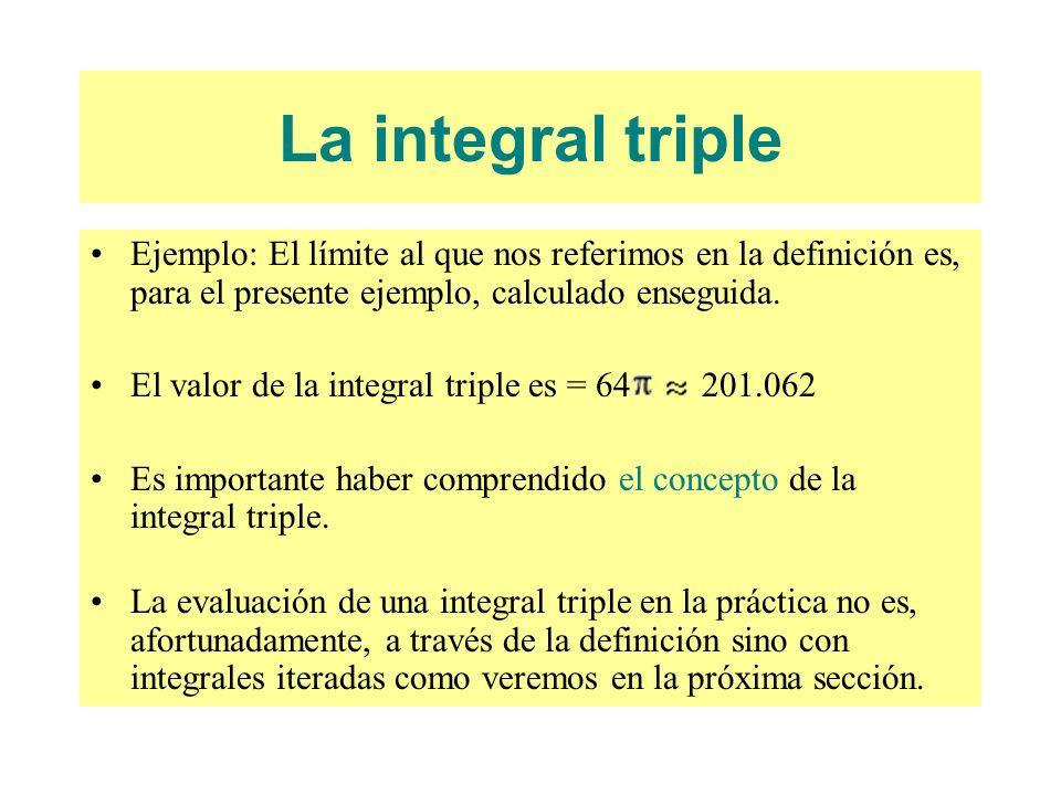 La integral triple Ejemplo: El límite al que nos referimos en la definición es, para el presente ejemplo, calculado enseguida.