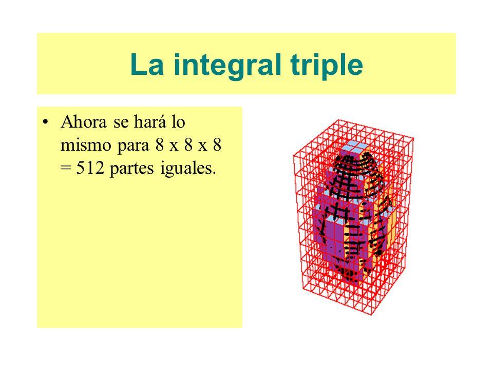La integral triple Ahora se hará lo mismo para 8 x 8 x 8 = 512 partes iguales.