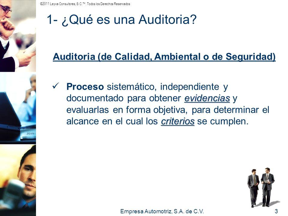 Auditoria (de Calidad, Ambiental o de Seguridad)