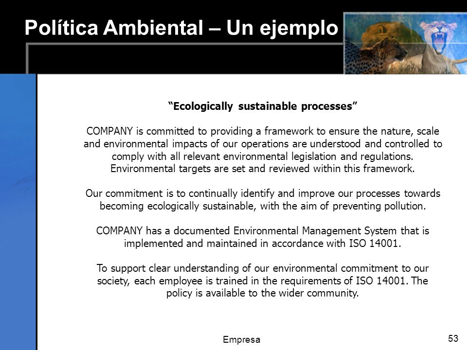 Ecologically sustainable processes