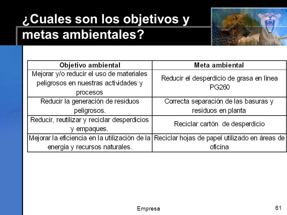 ¿Cuales son los objetivos y metas ambientales