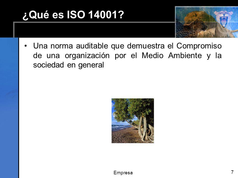 ¿Qué es ISO 14001 Una norma auditable que demuestra el Compromiso de una organización por el Medio Ambiente y la sociedad en general.
