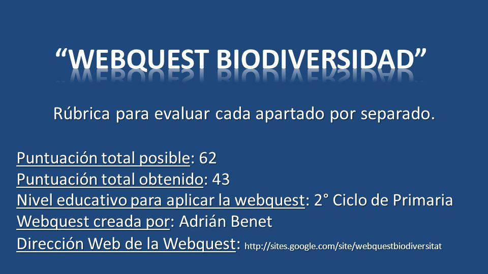 WEBQUEST BIODIVERSIDAD