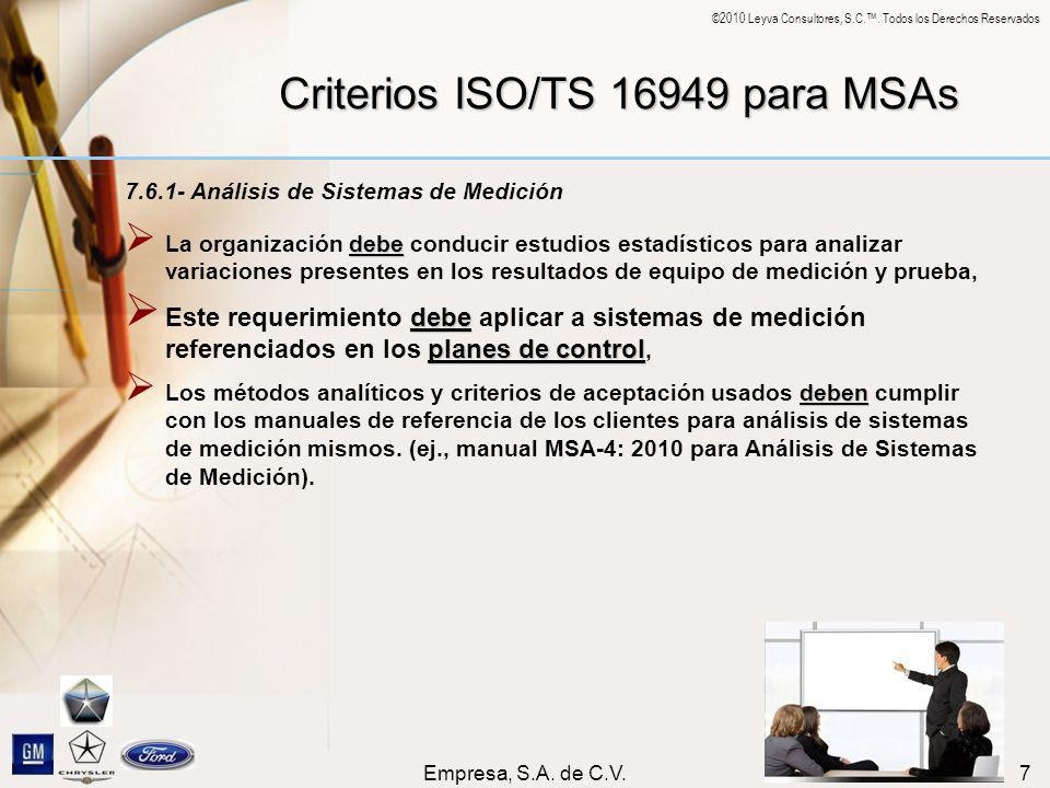 Criterios ISO/TS 16949 para MSAs