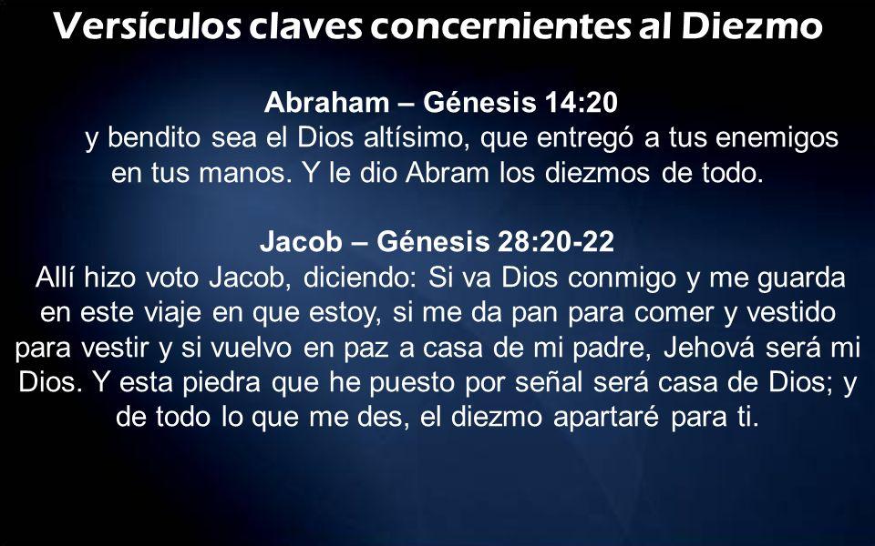 Versículos claves concernientes al Diezmo Abraham – Génesis 14:20