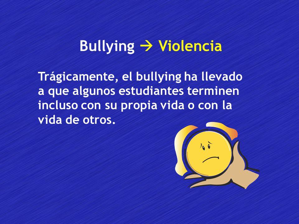 Bullying  Violencia Trágicamente, el bullying ha llevado a que algunos estudiantes terminen incluso con su propia vida o con la vida de otros.