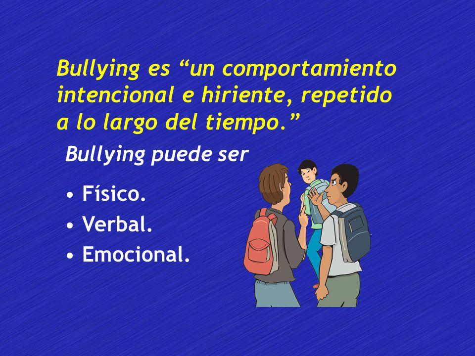 Bullying es un comportamiento intencional e hiriente, repetido a lo largo del tiempo.