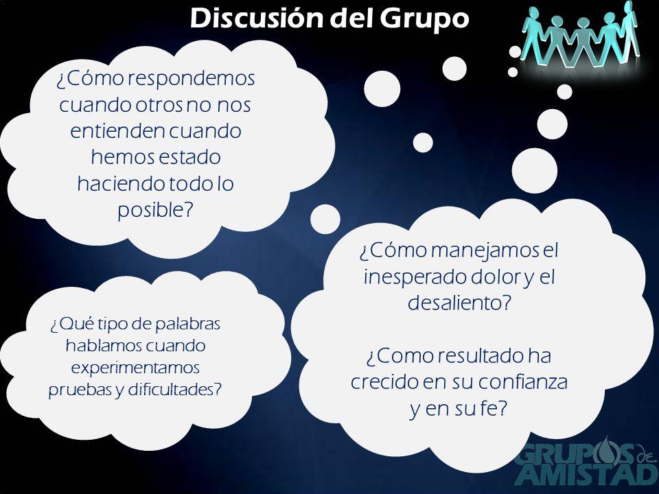 Discusión del Grupo ¿Cómo respondemos cuando otros no nos entienden cuando hemos estado haciendo todo lo posible