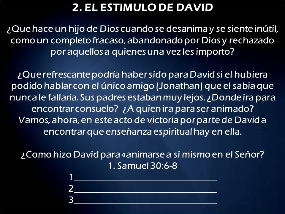 2. EL ESTIMULO DE DAVID