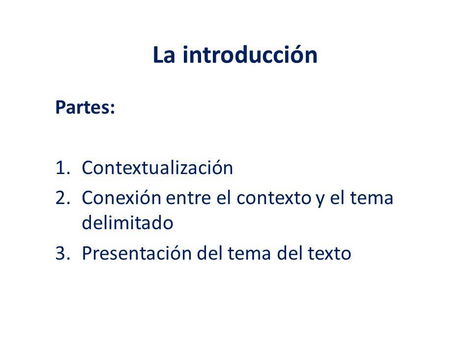 La introducción Partes: Contextualización