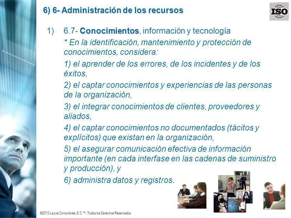 6) 6- Administración de los recursos