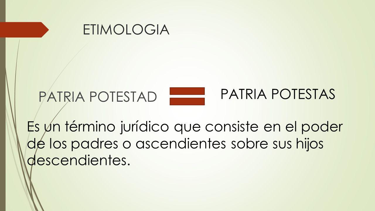 ETIMOLOGIA PATRIA POTESTAS. PATRIA POTESTAD.