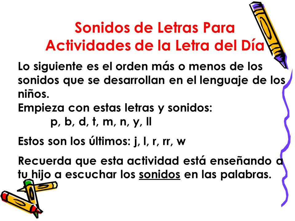 Actividades de la Letra del Día