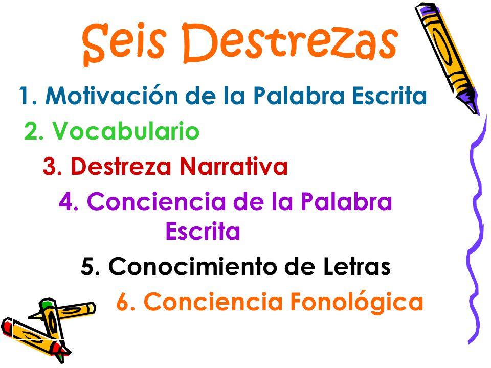 Seis Destrezas 1. Motivación de la Palabra Escrita 2. Vocabulario