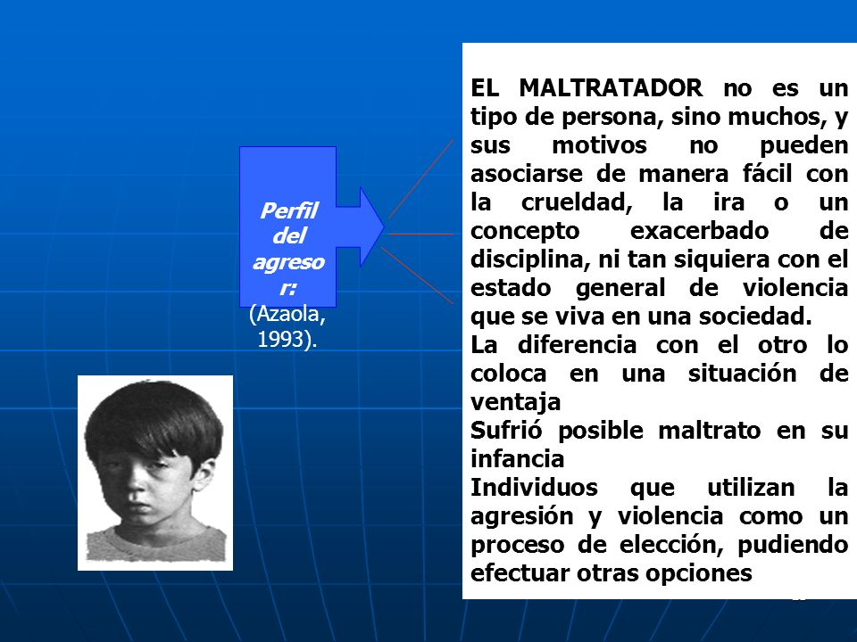 Perfil del agresor: (Azaola, 1993).