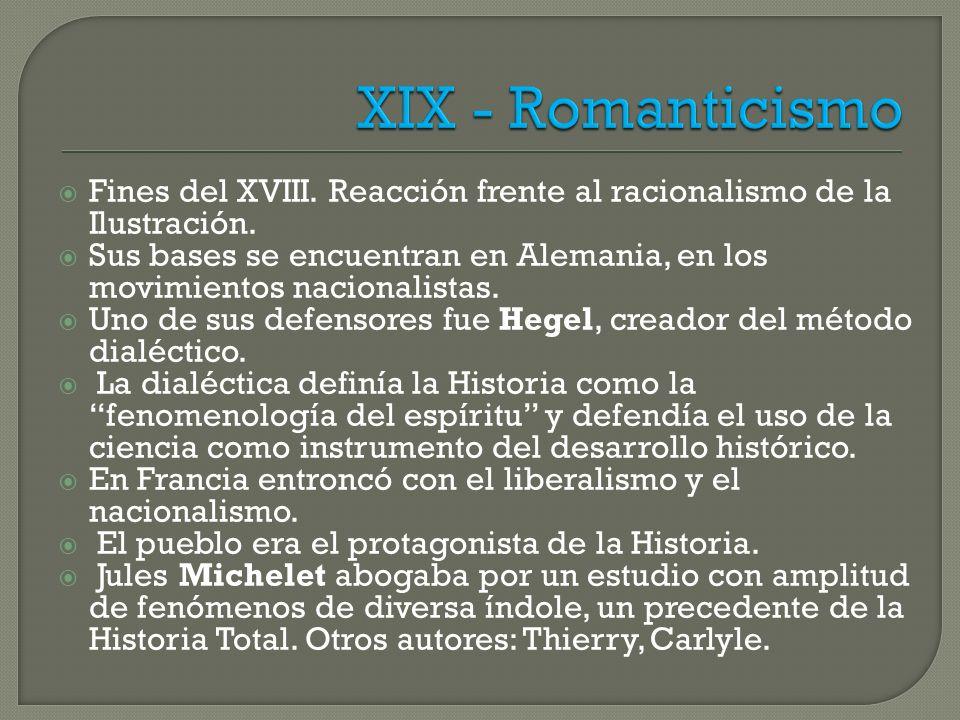 XIX - Romanticismo Fines del XVIII. Reacción frente al racionalismo de la Ilustración.