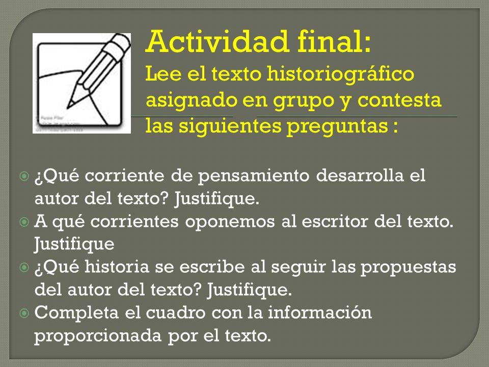 Actividad final: Lee el texto historiográfico asignado en grupo y contesta las siguientes preguntas :