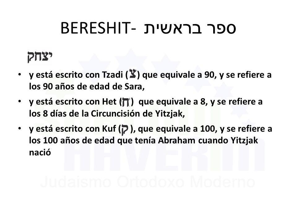 BERESHIT- ספר בראשית y está escrito con Tzadi ( ) que equivale a 90, y se refiere a los 90 años de edad de Sara,