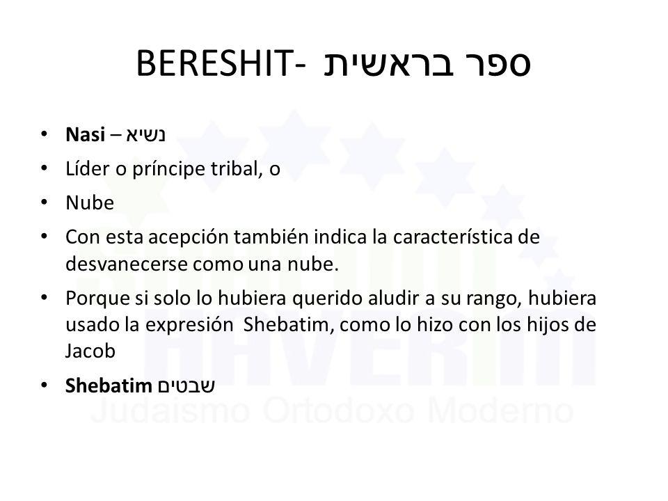 BERESHIT- ספר בראשית Nasi – נשיא Líder o príncipe tribal, o Nube