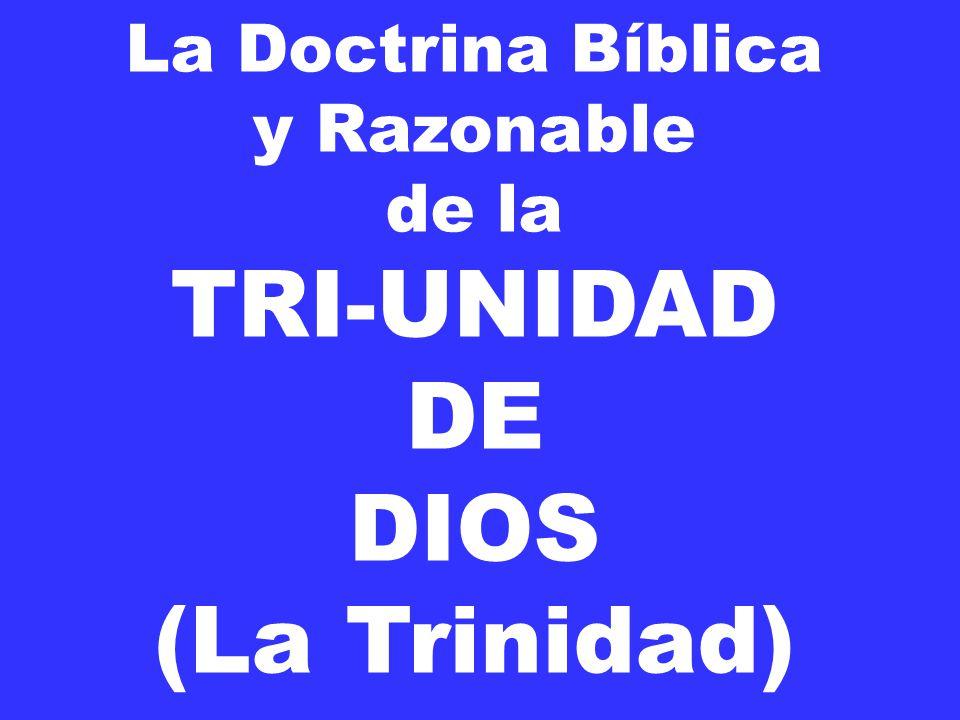 La Doctrina Bíblica y Razonable de la TRI-UNIDAD DE DIOS (La Trinidad)