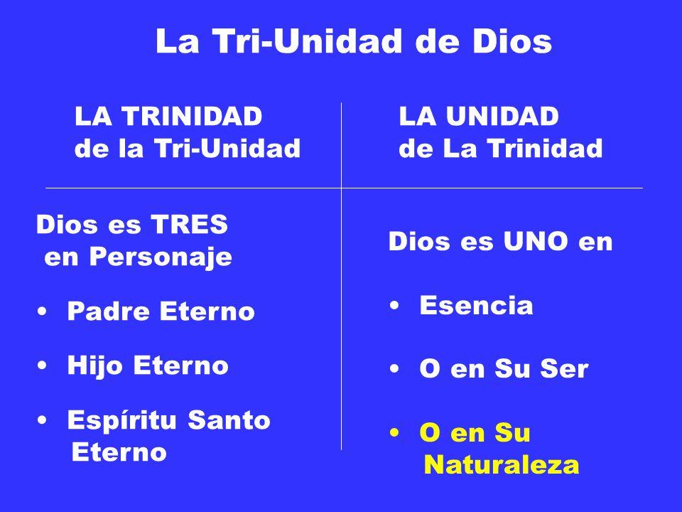 La Tri-Unidad de Dios Dios es TRES en Personaje Padre Eterno