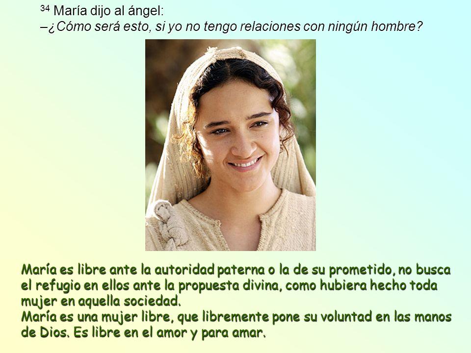 34 María dijo al ángel: –¿Cómo será esto, si yo no tengo relaciones con ningún hombre