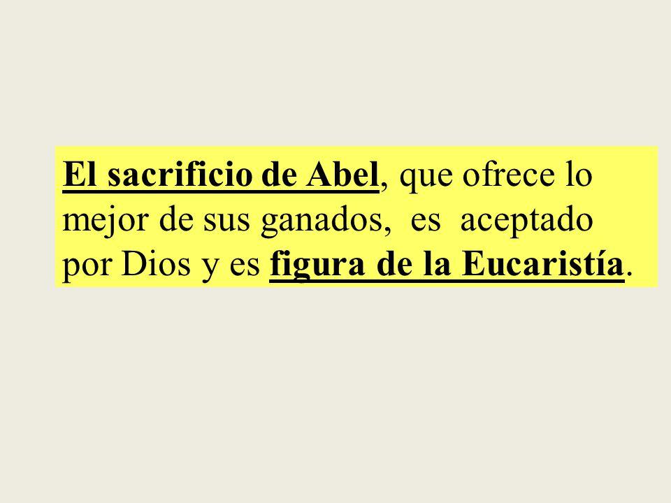 El sacrificio de Abel, que ofrece lo mejor de sus ganados, es aceptado por Dios y es figura de la Eucaristía.