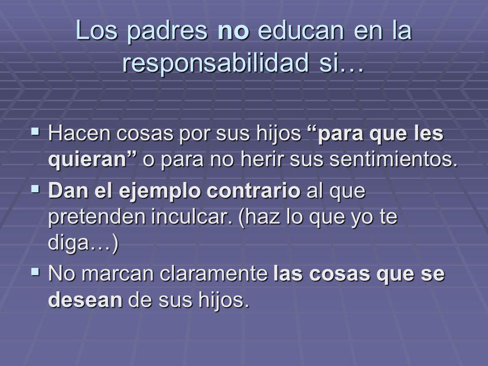 Los padres no educan en la responsabilidad si…