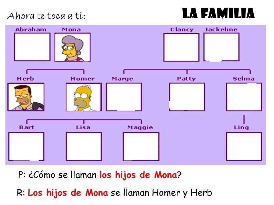 LA FAMILIA Ahora te toca a ti: P: ¿Cómo se llaman los hijos de Mona