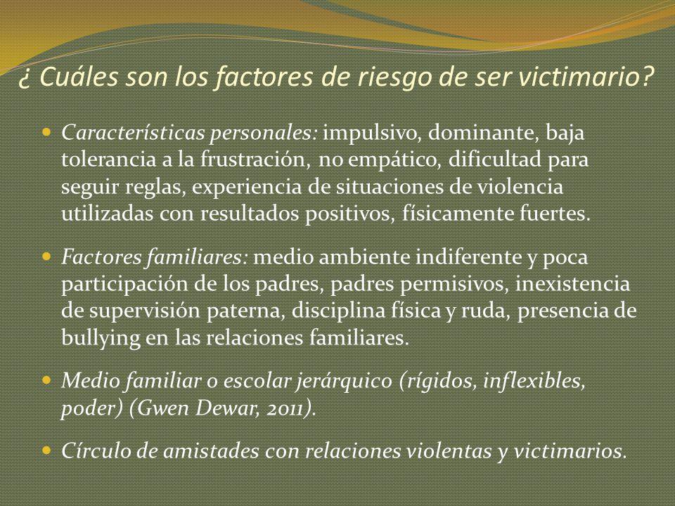¿ Cuáles son los factores de riesgo de ser victimario