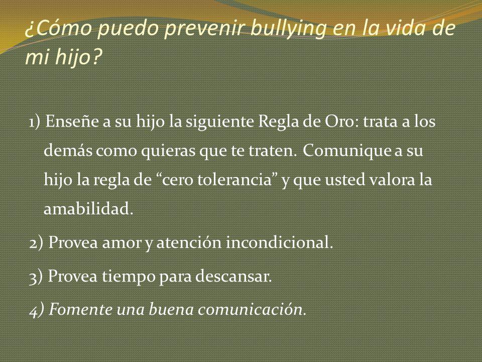 ¿Cómo puedo prevenir bullying en la vida de mi hijo