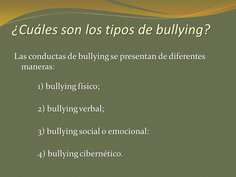 ¿Cuáles son los tipos de bullying