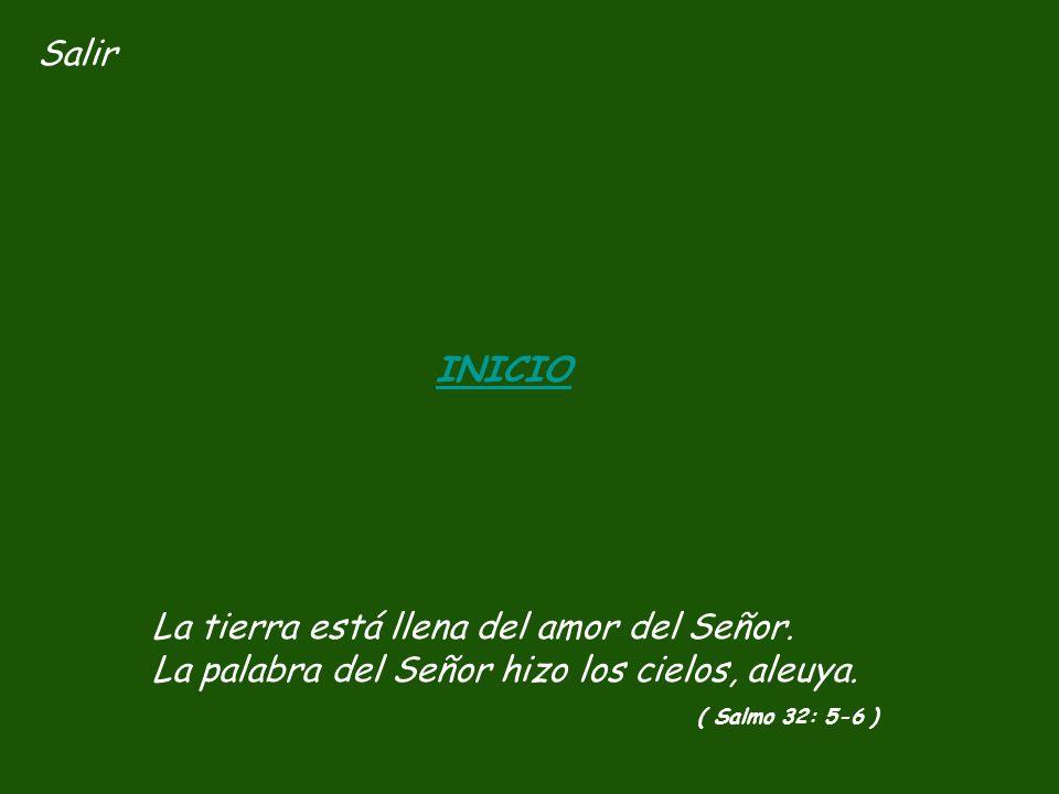 Salir INICIO. La tierra está llena del amor del Señor. La palabra del Señor hizo los cielos, aleuya.