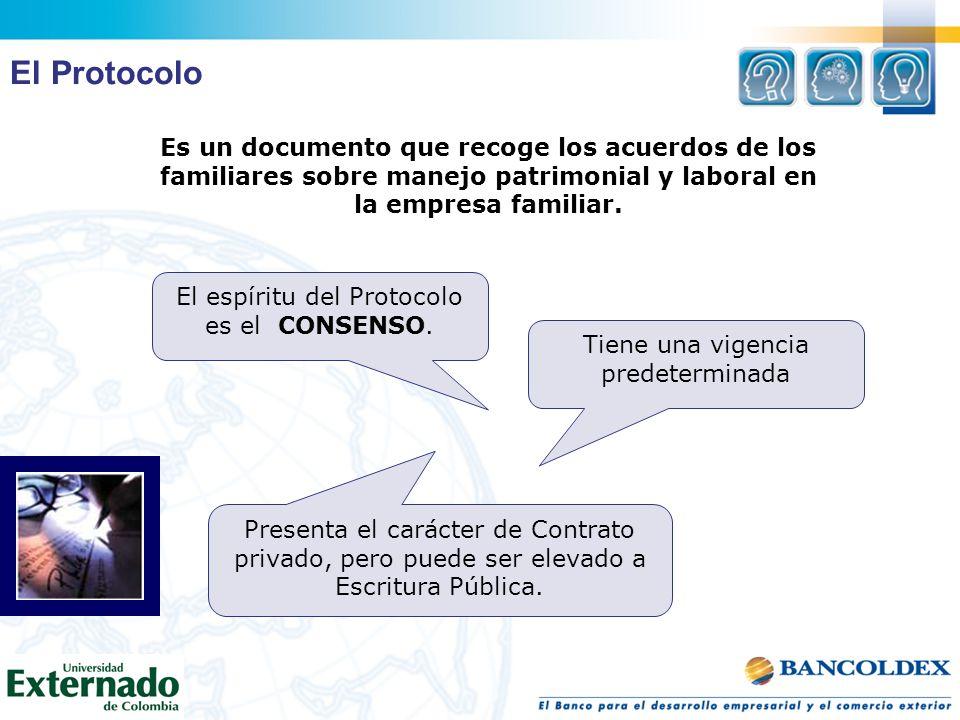 El Protocolo Es un documento que recoge los acuerdos de los familiares sobre manejo patrimonial y laboral en la empresa familiar.