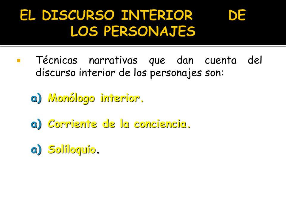 EL DISCURSO INTERIOR DE LOS PERSONAJES